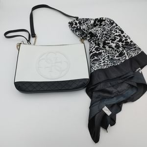 Guess monogram crossbody bag with matching scarf
